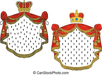 Heraldic royal mantles with red silk, golden crowns and...