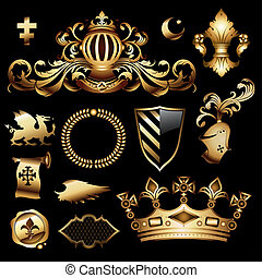 heraldic royal set, this illustration may be useful as designer work