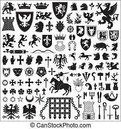heraldic, símbolos, e, elementos