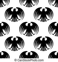 Heraldic seamless pattern of black eagles