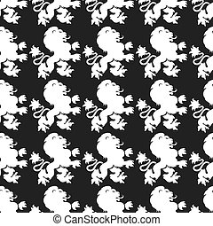 Heraldic seamless pattern with lion silhouette