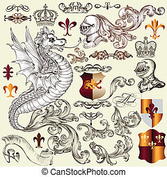 Heraldic set of vector elements