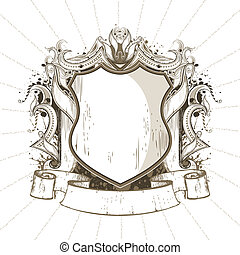 Heraldic Shield - illustration of ornate heraldic shield in...