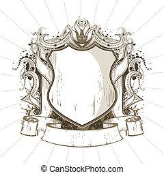 Heraldic Shield - illustration of ornate heraldic shield in...
