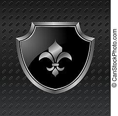 heraldic shield on metallic background