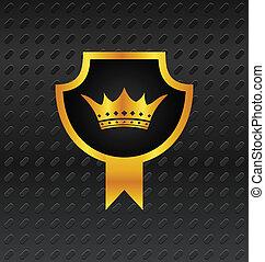 heraldic shield on titanium background - Illustration...