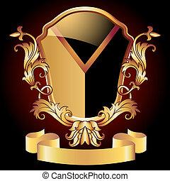 Heraldic shield ornate golden ornament