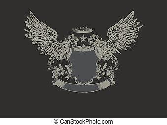heraldic shield - An heraldic shield or badge, with script...