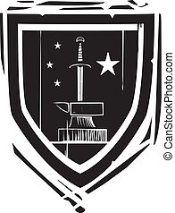 Heraldic Shield Sword and Anvil - Woodcut style Heraldic...