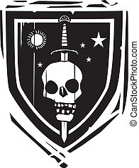 Heraldic Shield Sword and Skull