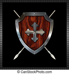 Heraldic shield with spears.