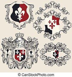 Heraldic shields set for antique vintage design. Vector...