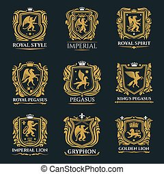 Heraldic shields with lions, eagle, crowns, swords