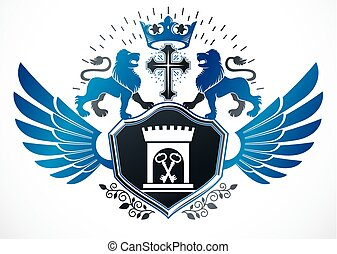 Heraldic sign composed with vector design elements like wild lion illustration, religious cross and ancient castle.