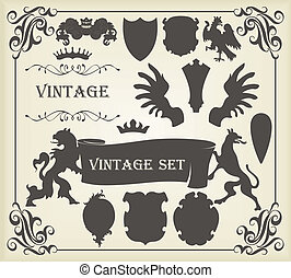 Heraldic silhouettes set of many vintage elements
