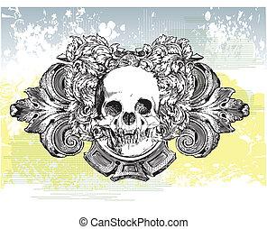 Heraldic Skull Illustration