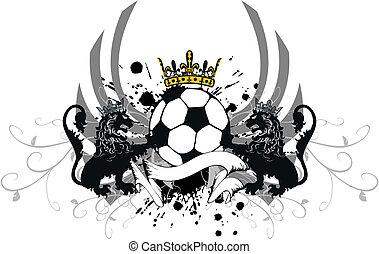 heraldic soccer lion crest3 - heraldic soccer lion crest in...