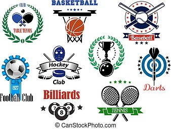Heraldic sports emblems, symbols and design with darts, baseball, billiards, bowling, basketball, soccer, tennis, ice hockey, table tennis with equipments, laurel wreaths, stars and ribbon banners