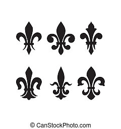 Lily flower -(heraldic symbol fleur de lis). Vector image isolated on white background.