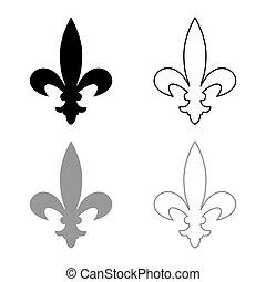 Heraldic symbol Heraldry liliya symbol Fleur-de-lis Royal french heraldry style icon outline set black grey color vector illustration flat style image