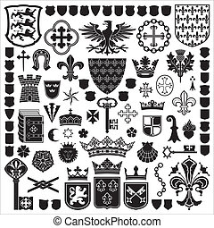 Collection of old coats of arms, heraldic shields, symbols and elements.