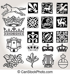 Heraldic symbols and elements