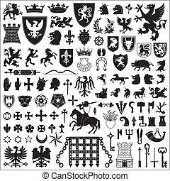 Heraldic symbols and elements - Collection of old coats of...