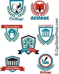 Heraldic symbols for university and college education design...
