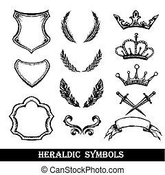 heraldic symbols, hand drawing