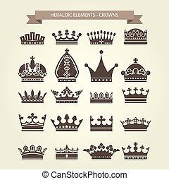 Heraldic symbols - royal crowns icon set