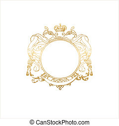 heraldic titling frame - round frame with floral ornament...