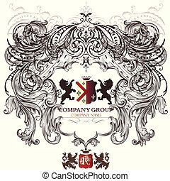Heraldic vector design with lions and swils.eps