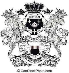 Heraldic vector illustration in vintage style.eps - Heraldic...