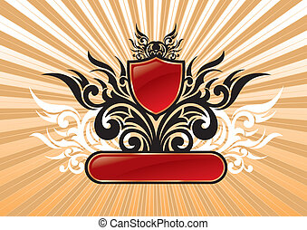 Heraldic vector ornate illustration with red shield & frame