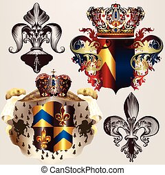 Heraldic vector set of designs with coat of arms, crowns and shield