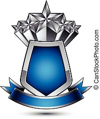 Heraldic vector template with pentagonal silver stars placed over gray protection shield and decorated with blue wavy stripe, silver 3d royal geometric blazon isolated on white background.