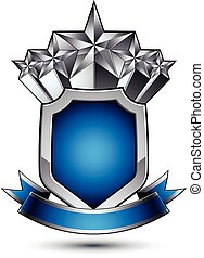 Heraldic vector template with pentagonal silver stars placed over gray security shield and decorated with blue wavy stripe, silver 3d royal geometric blazon isolated on white background.