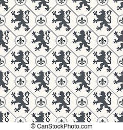 heraldic, vetorial, fundo, seamless