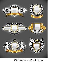 heraldic, vindima, emblemas, jogo, prata, e, ouro