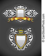 heraldic vintage emblems set silver and gold