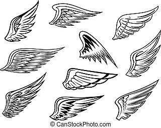 Heraldic wings set - Set of heraldic vector wings in black...