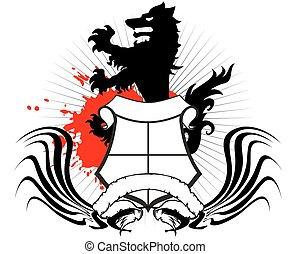 heraldic wolf coat of arms crest tattoo