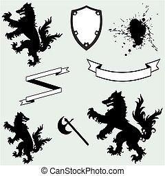 heraldic wolf coat of arms crest tattoo set1