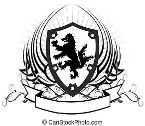 heraldic wolf coat of arms crest tattoo shield