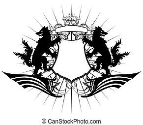 heraldic wolf coat of arms crest tattoo tshirt
