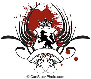 heraldic wolf coat of arms crest tattoo winged