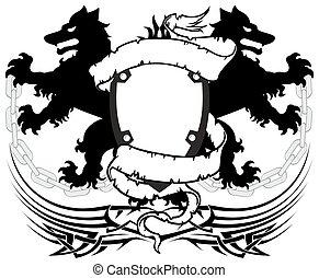 heraldic wolf coat of arms crest tattoo10