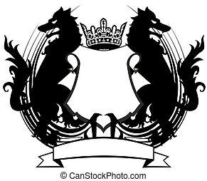 heraldic wolf coat of arms crest tattoo11