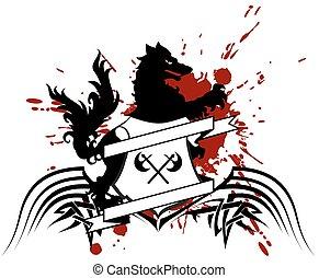 heraldic wolf coat of arms crest tattoo6