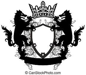 heraldic wolf coat of arms crest tattoo8
